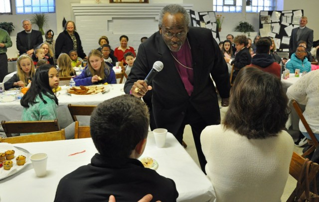 """Bishop Curry had breakfast with diocesan youth leaders at Church of the Holy Cross in the struggling Homewood West neighborhood. As technological change adds to the world's complexity, he told the young leaders, but """"progress as a way of love, progress in living, progress in learning how to live together in all of our differences and varieties may be the ultimate progress that will make the difference for us all."""""""