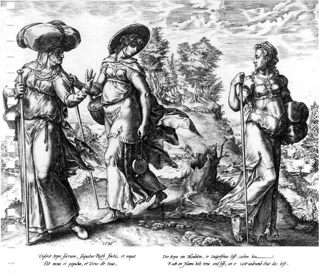 Hendrick Goltzius, 1576: Orpah (right) Leaves Ruth and Naomi