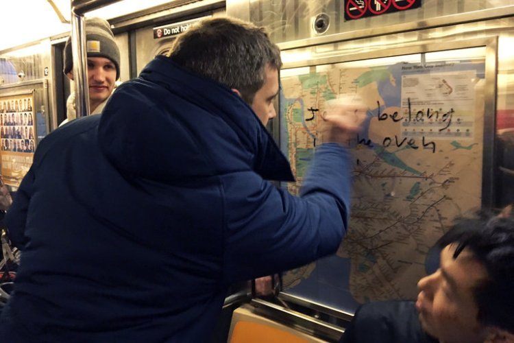 A man entered a subway car in New York City Saturday night for a ride on the Broadway Local, and noticed that someone had swastikas and anti-Semitic remarks on all the maps and advertising posters. Everyone in the car was hushed, wondering what to do, when he noticed a woman who was as distressed about it as he was. He said the obvious - out loud, on a New York subway - she replied with a vague wish that they could get rid of the graffiti somehow, and within a minute he was calling for donations of hand sanitizer and scrubbing away at the obscenities. Alcohol kills Sharpie, and sanitizer is full of alcohol; by the time he arrived at his stop a few minutes later, everyone pitched in and had it all removed. (Gregory Locke)