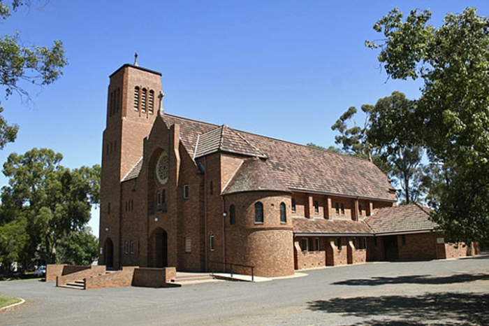 St. Alban's Cathedral, Griffith serves the Diocese of Riverina, New South Wales; dedicated as a parish church in 1955, claimed by the diocese as its cathedral in 1984.