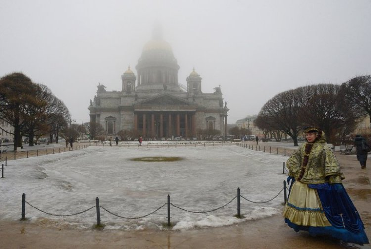 The Russian government proposes to return St. Isaac's Cathedral, St. Petersburg, to Orthodox ownership; it's been a museum since 1928. This is apparently part of Vladimir Putin's campaign to strengthen Russian conservatives for nationalist purposes. But many local residents don't want the church to return to the hierarchy; they prefer it secular and the bishops on a leash. (Olga Matlzeva/Agence France-Presse)