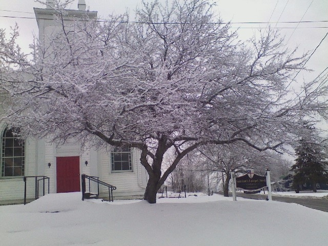 St. John's, Catharine, New York, after an ice storm. The Eastern U.S. is bracing for a big winter storm Thursday; New York City schools were called off. (The Rev. Michael Hartney)