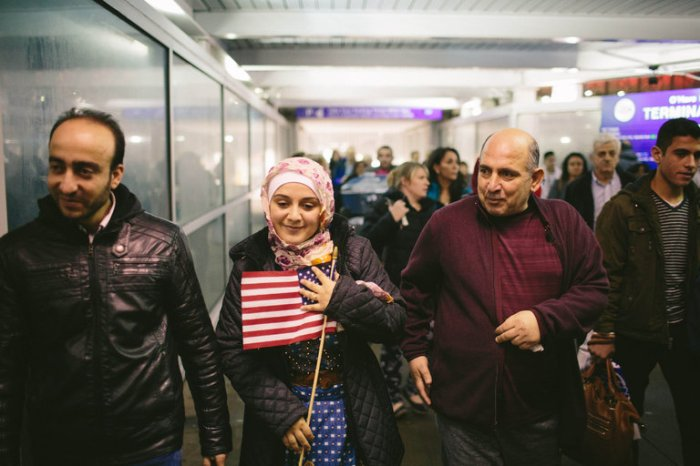 Yesterday the U.S. Court of Appeals for the Ninth Circuit, based in San Francisco, unanimously affirmed a lower court ruling blocking the Trump Administration's travel ban on entry by refugees and citizens of seven predominantly Muslim countries, allowing this family of Syrian refugees to walk in via Chicago's O'Hare Airport. (Alyssa Schukar/The New York Times)