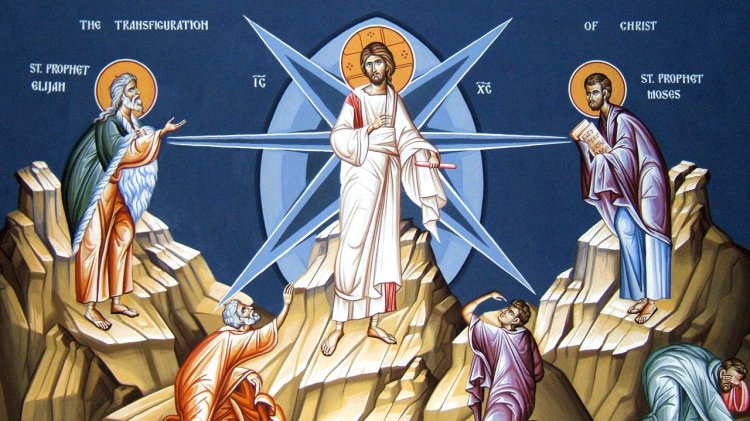 """It may seem odd at first to show a Transfiguration icon in the middle of Advent, but this is one of the few to highlight Christ with Elijah and Moses, instead of the disciples' inadequate response. """"Moses wrote about me,"""" Christ tells the Pharisees in the next lesson."""