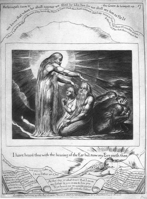 William Blake, 1823: I Have Heard Thee with the Hearing of the Ear, plate xvii of Blake's Illustrations of the Book of Job. Scripture requires only a dozen lines to tell of the restoration of Job after all his troubles, while Blake emphasizes the story's happy ending with five illustrations. Let us note in parting that while sheep and oxen can be replaced, Job's sons and daughters cannot, no matter how beautiful the new ones were.